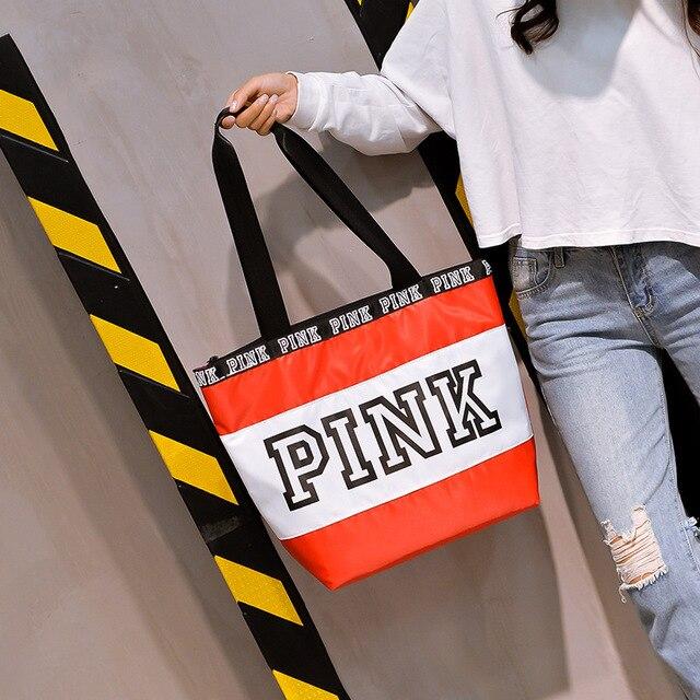 Oxford Bags Outdoor Printing Folding Travel Bag States Shopping Bag Sports Waterproof Set Women Bag PINK