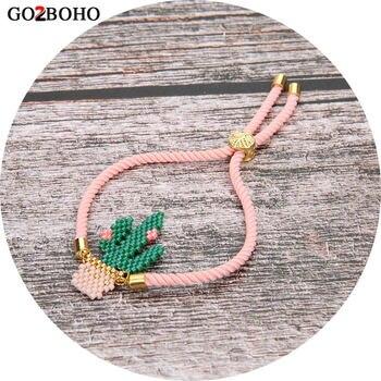 6eedebe83b16 Go2boho MIYUKI pulsera pulsas Mujer Moda 2019 Delica cuentas Rosa verde  Cactus Pulseras Mujer joyería regalo hecho a mano