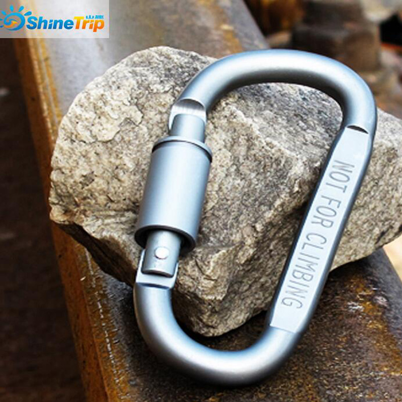 5PCS 8* 4.2cm Outdoor Sports Aluminium Alloy Safety Buckle Keychain Climbing Button Carabiner Camping Hiking Hook free shipping