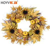 Sunflower Maple Leaf Pumpkin Artificial Wreath 60cm Christmas Halloween Festival Home Wall Decoration HOYVOY