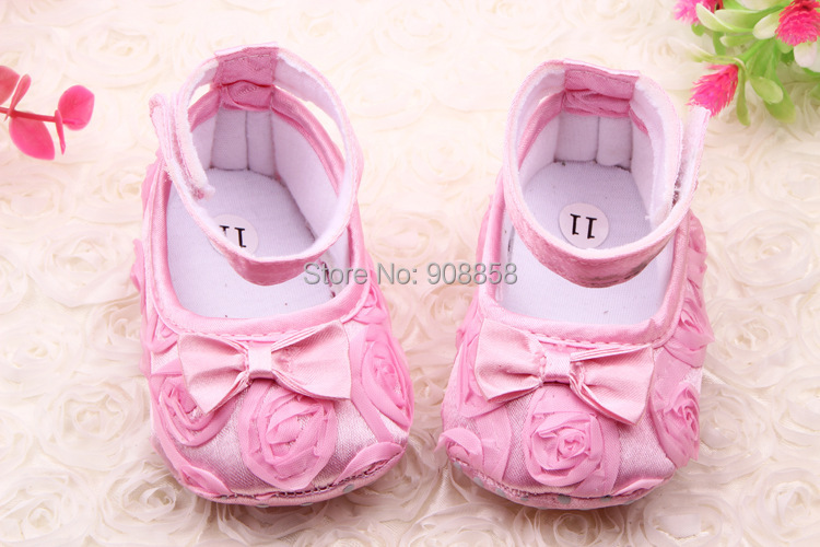 HOT #0050 Hot Sell Toddler Soft Sole Rose Flowers Mary Jane Baby Shoes //