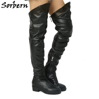 Sorbern Zipper Black Med Thigh High Boots Patent Leather Women Shoes Custom Made Color Winter Boots Plush Lining Big Size 10
