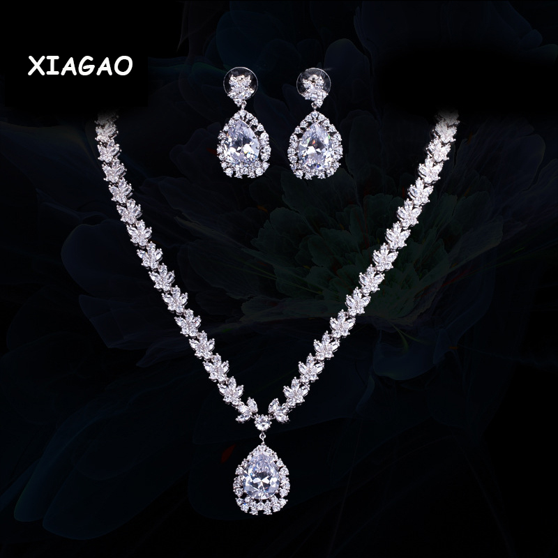 XIAGAO Sparkling Water Drop Dangling Wedding Necklace and Earrings Bridal Dark Blue CZ Jewelry Sets cwwzircons water drop royal blue cz necklace earrings ring and bracelet 4 piece wedding jewelry set for women bridal party t098