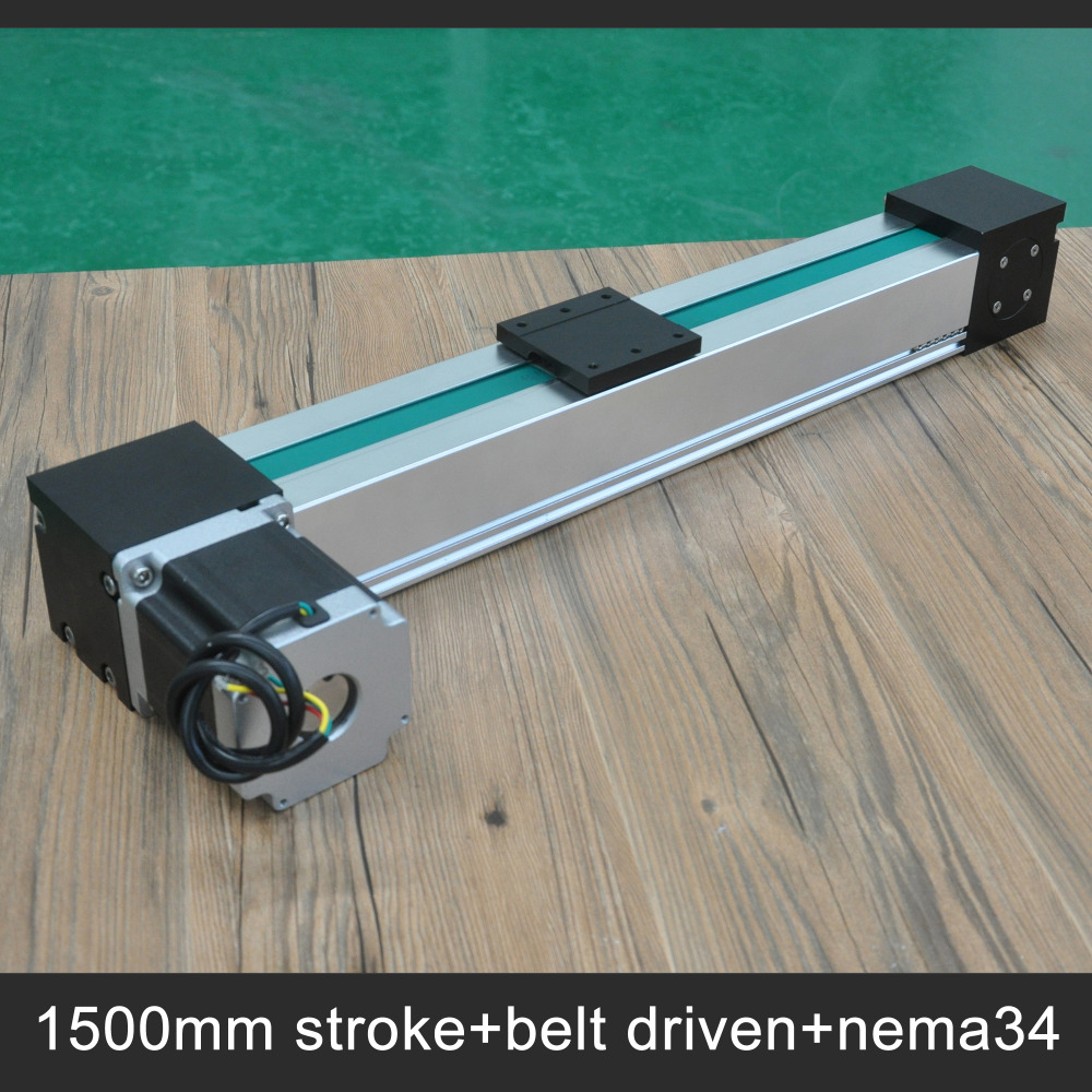 Free shipping Wholesale prices belt driven 1500mm linear guideway with integrated stepper motor 1220 800 one head belt driven linear actuator custom travel length linear motion motorized linear stage belt driven stage