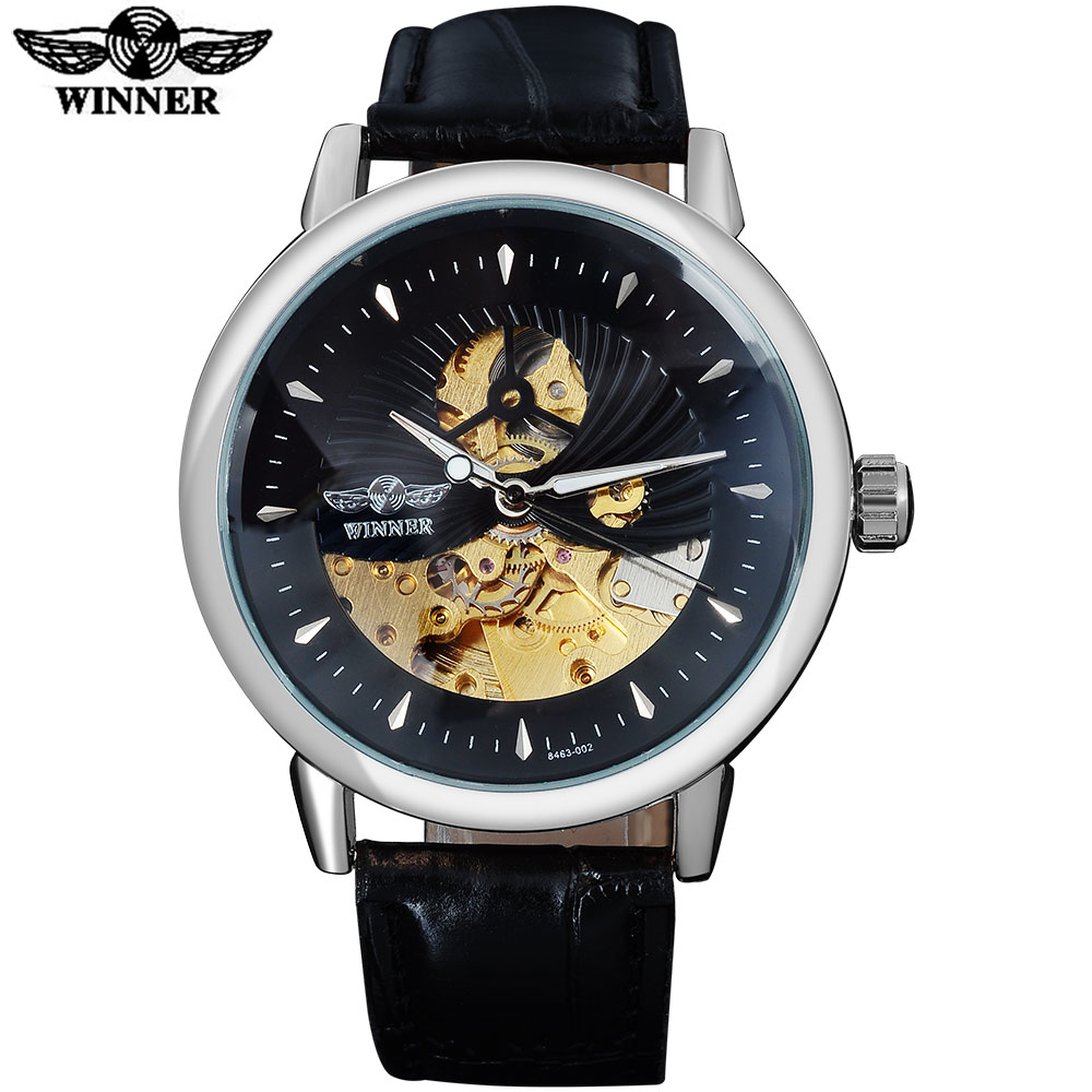 WINNER fashion brand men mechanical watches leather strap casual men's automatic skeleton watches black wristwatches relogio winner fashion men mechanical watches leather strap silver case new casual brand analog automatic wristwatches relogio masculino
