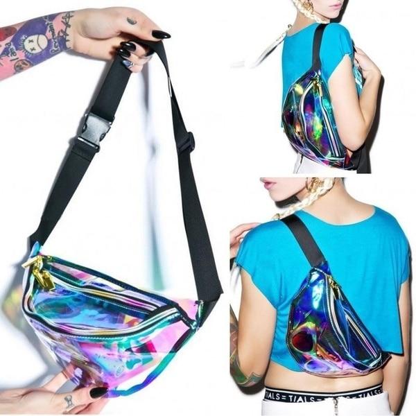 Fanny Pack Punk Lady Girl Retro Rainbow TransparentBum Women Purse Waist Bag