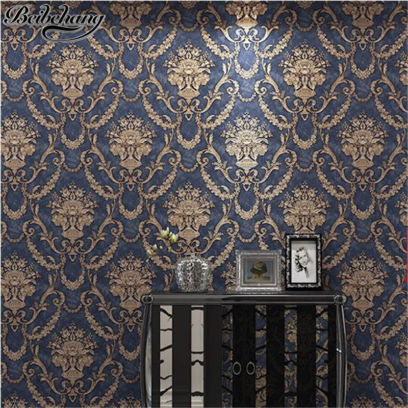 beibehang European 3d non-woven wallpaper AB version of the relief Damascus striped wallpaper bedroom living room TV wall paper beibehang new children room wallpaper cartoon non woven striped wallpaper basketball football boy bedroom background wall paper