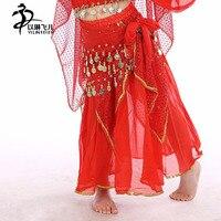 Taniec brzucha spódnicę stałe szyfonowa indian costume dzieci spódnica dla orientalne taniec spódnica długie jasne tkaniny dziewczyny cygańska spódnica