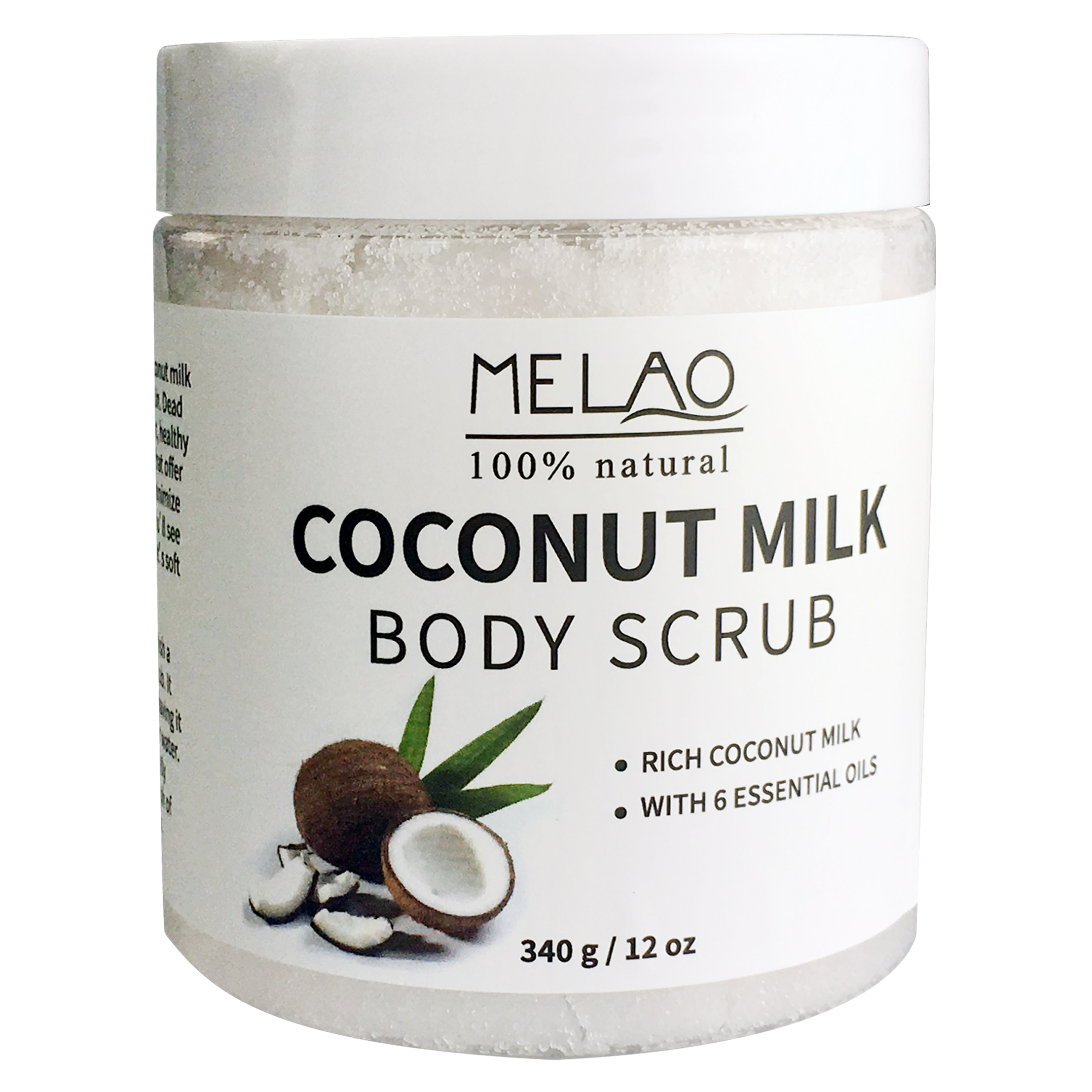 MELAO 340g/12oz 100% Natural Arabica Coconut Milk Body Scrub with Dead Sea Salt, Almond Oil and Vitamin E 4