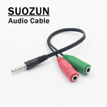 SUOZUN Headphone Splitter Cabo De Áudio de 3.5mm Macho para 2 Fêmea Jack de 3.5mm Splitter Cabo Adaptador Aux para iPhone samsung MP3 Jogador