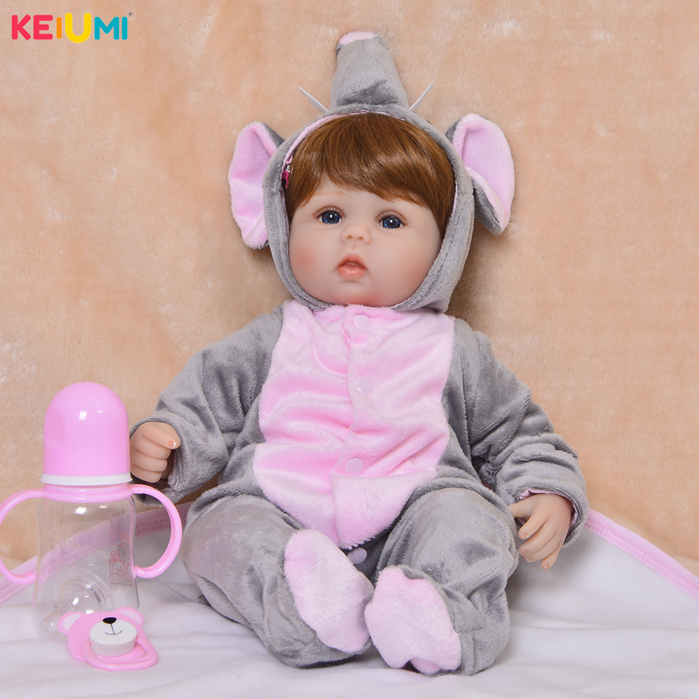 Cute 43 cm Reborn Baby Doll Elephant 17 Newborn Dolls Fashion Girls Toys For Cute Children