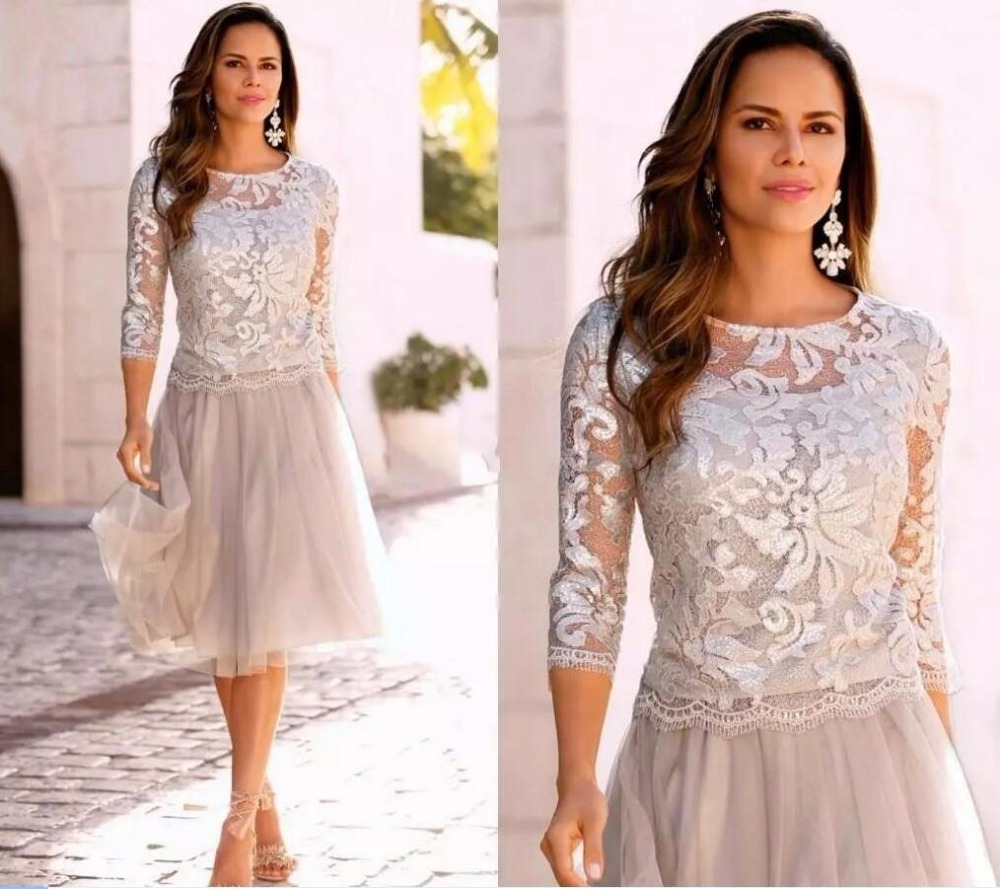 Silver Short Mother Of The Bride Groom Lace Dresses 3/4 Long Sleeves Lace Tulle Knee Length For Summer Wedding Party Gowns 2020
