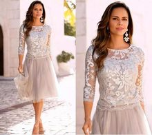 d4f6e77ca8 Silver Short Mother of the Bride Groom Lace Dresses 3/4 Long Sleeves Lace  Tulle Knee Length for Summer Wedding Party Gowns 2019