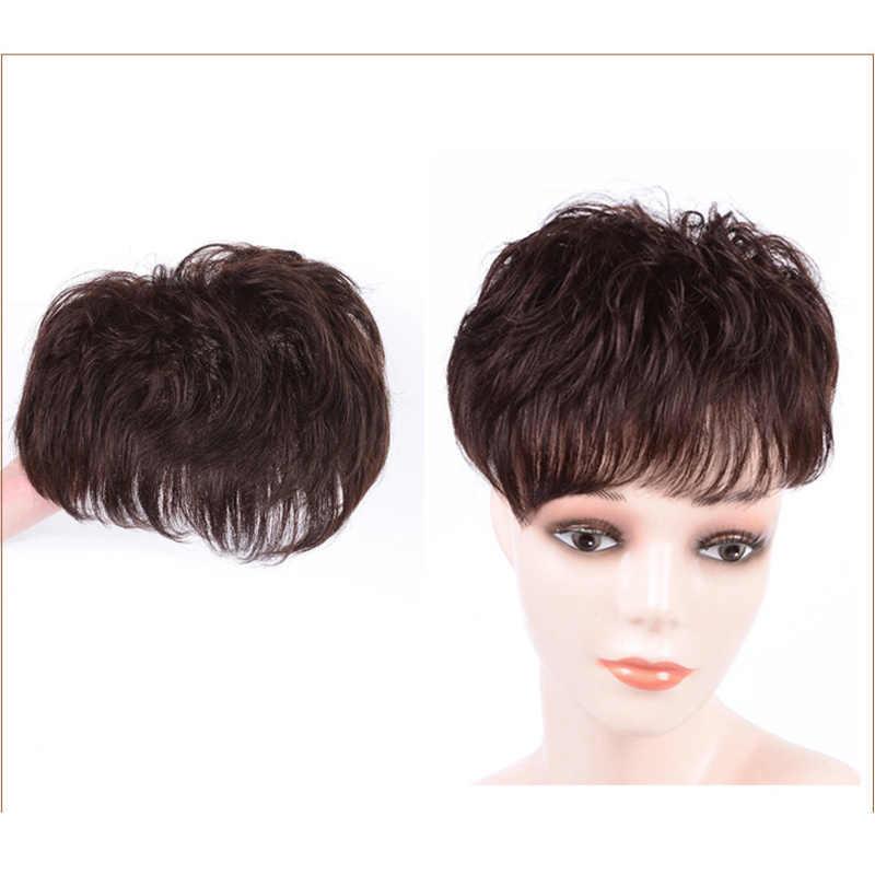 DIFEI короткие кудрявые прямые черные коричневые накладные волосы на заколках, натуральные накладные волосы, шиньон для женщин