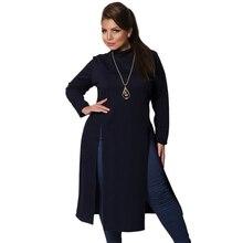 2018 Ressort Plus La Taille Des Vêtements Pour Femmes Bleu Marine Haute  Fente Midi t-shirt Robe Casual Femmes Robe Grande Taille. 68dbefeb39a1
