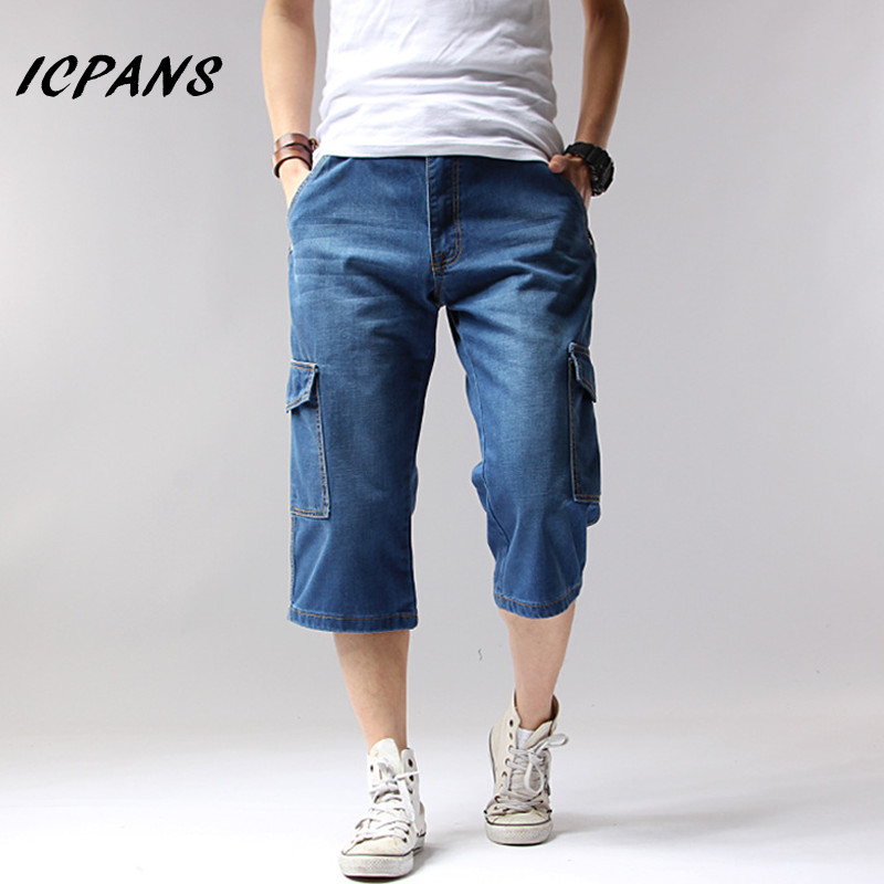 Big Size 42 44 Denim Jeans Men Shorts Multi-Pockets Cargo Casual Solid Loose Shorts 2018 Summer Knee Length Shorts Men 1127