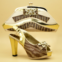 Latest Gold Women Shoes and Bags To Match Set Italy Italian Shoes with Matching Bags Set Decorated Appliques High Heel Shoes