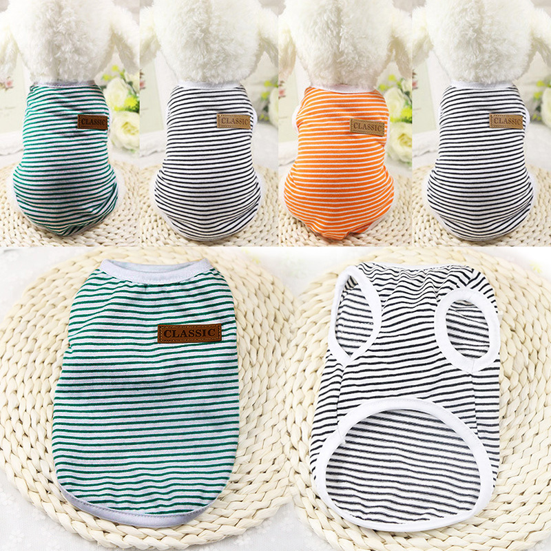 Summer Pet Clothes For Cat Vest Clothes For Small Cats Animal Cotton Fashion Stripe Clothes For Cats Vest Chihuahua York 36 A1