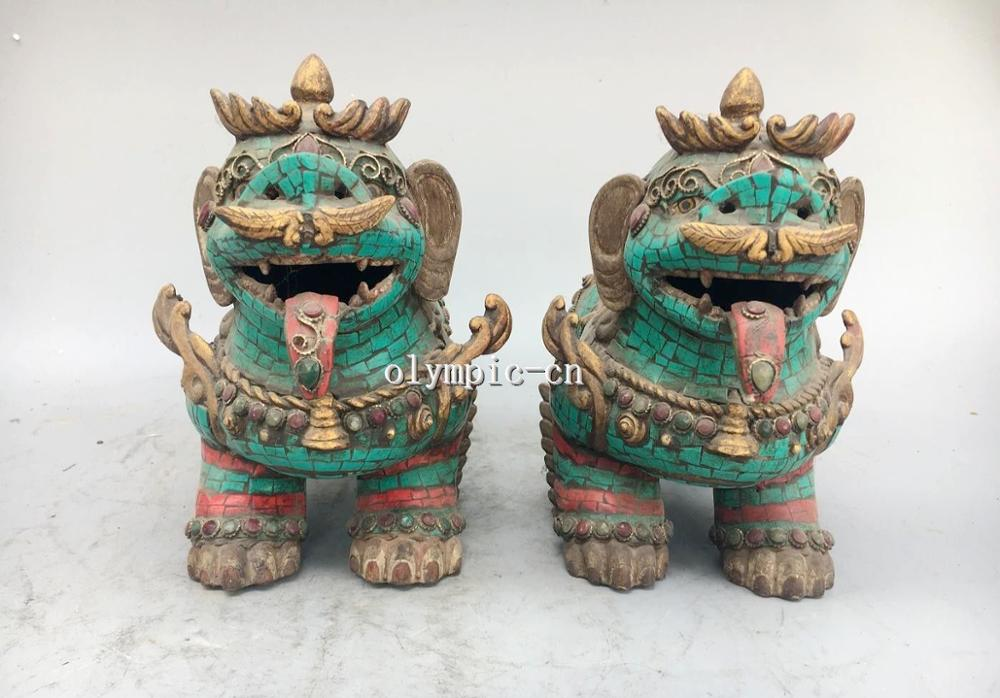 Pair 12'' Bronze Inlay Turquoise Coral Gem Tibetan Buddhism Beast Foo Dogs Lion