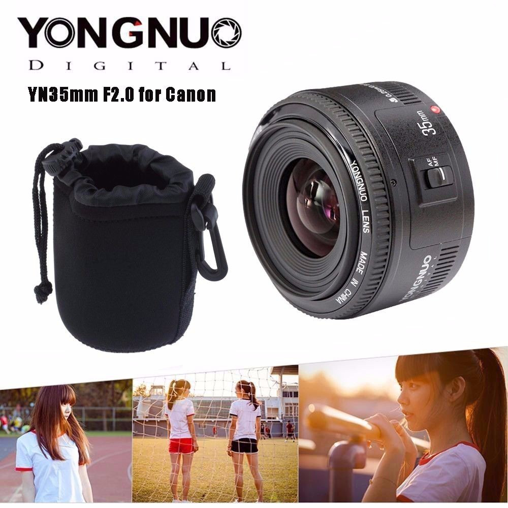 Yongnuo 35mm lens YN35mm F2 lens Wide-angle Large Aperture Fixed Auto Focus Lens For canon With MINI Camera Lens Pouch Bag yongnuo 35mm lens yn35mm f2 0 lens wide angle large aperture fixed auto focus lens ef mount for canon dslr cameras 600d 60d 5d