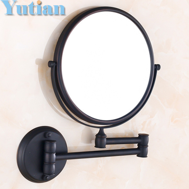 oil rubbed bronze  8 Double Side Bathroom Folding Brass Shave Makeup Mirror Wall Mounted Extend with Arm Round 3x Magnifying brass wall mounted ribbon lamp 8 5 round double side cosmetic mirror silver 220v