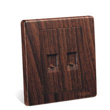 Wall Switch Socket Panel 86 European Style Wood Color Telephone Computer Network Telephone Socket Network Phone