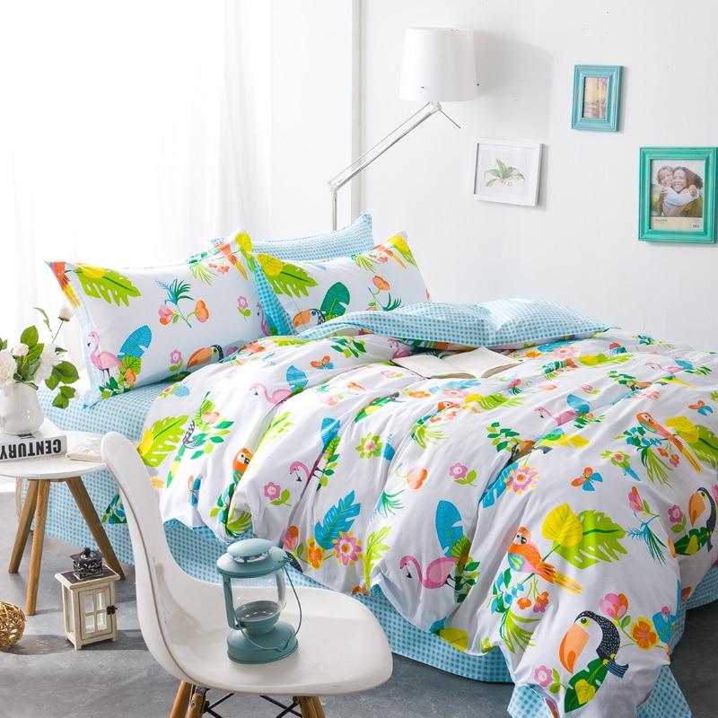 cartoon cotton bedding sets 4pcs duvet covet set twin full queen single double size for children. Black Bedroom Furniture Sets. Home Design Ideas