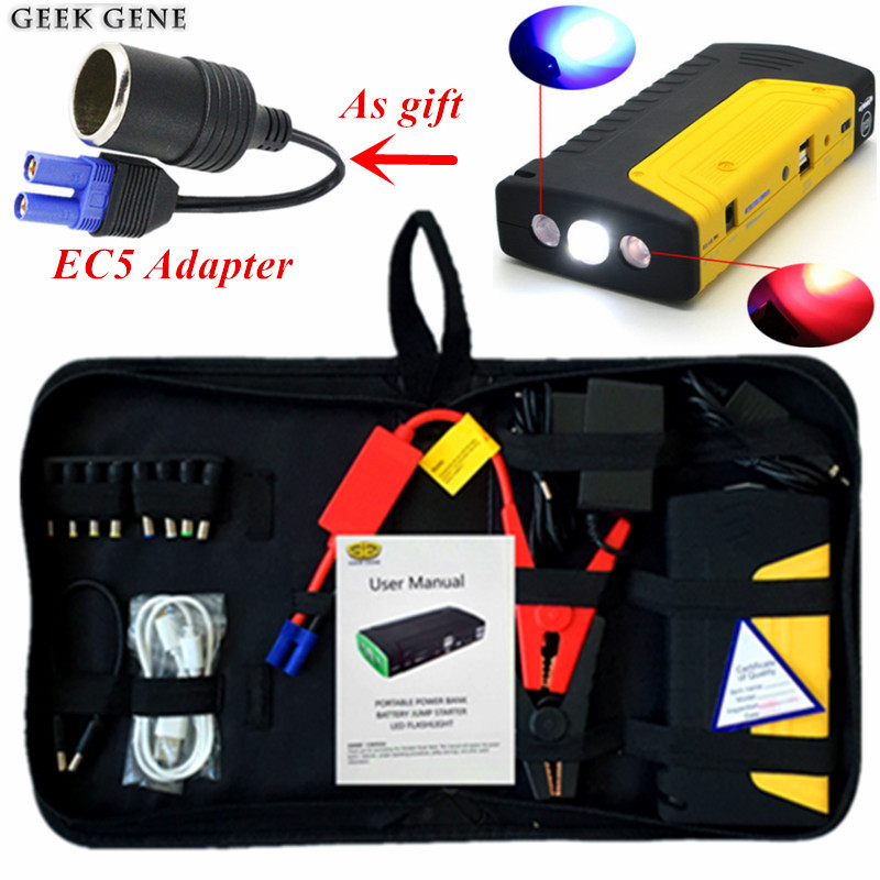 New Capacity Car Jump Starter 12V 600A Peak Portable Starting Device Mobile 2USB Power Bank Car Charger For Car Battery Booster 2017 high capacity 15000mah car jump starter portable 12v car battery booster charger mobile 2usb power bank sos light free ship