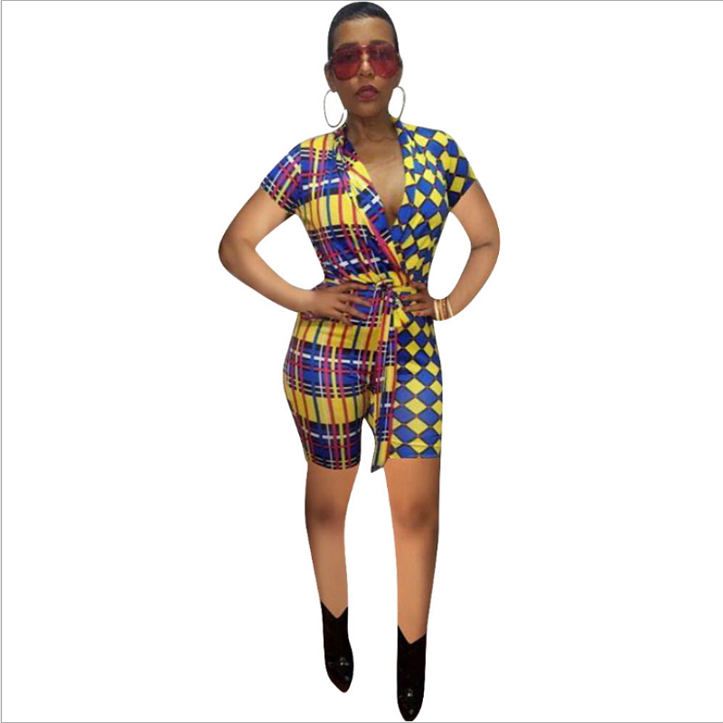 Short Sleeve Bodycon Bodysuit For Women V Neck With Sashes Plaid Print Bandage Jumpsuits Shorts Checkered Rompers Sexy Summer in Rompers from Women 39 s Clothing