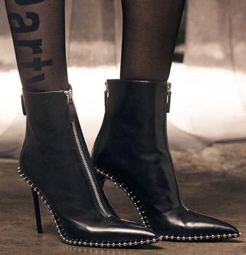 new fashion black leather pointed toe double zippers high heel ankle woman boots metal balls double zipper woman ankle boots 2016 new fashion ankle boots high quality leather metal zipper decorated pointed toe high thin heel basic boots for woman