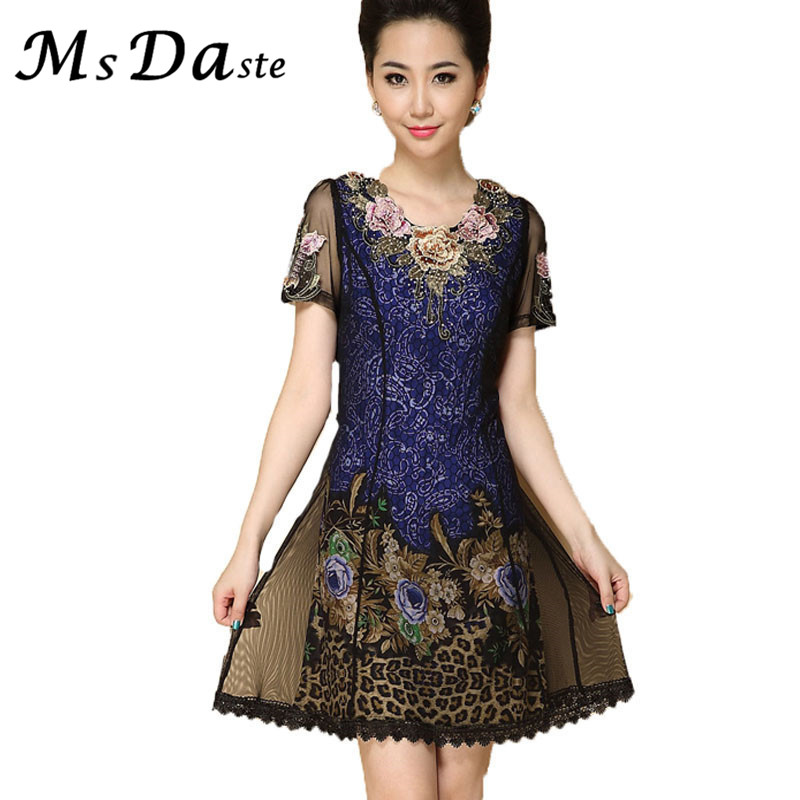 Lace dresses women new floral print embroidery