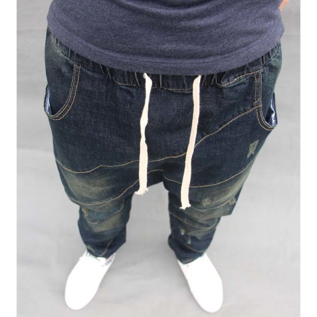 Men Baggy Denim Harem pants Male Loose Low drop Crotch Jeans Hip Hop street dance Drawstring Trousers Plus Size Joggers A60301