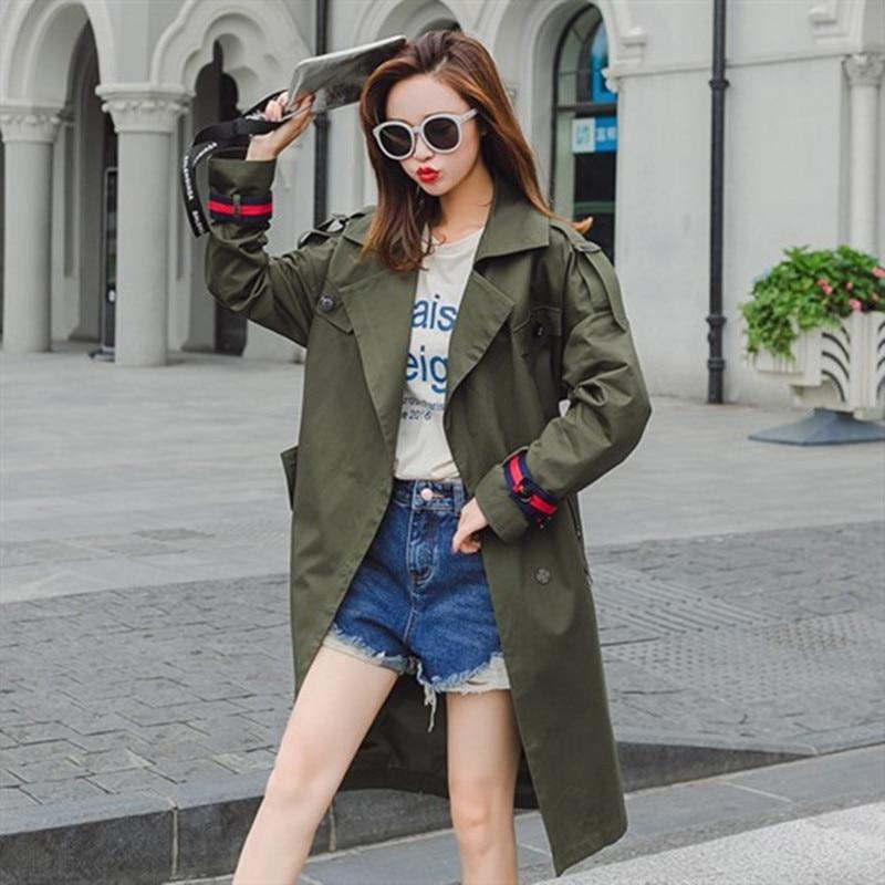 Femmes automne Mode uni Green Femelle Simple Armée Survêtement Army Casual Nouvelle Manteau 2018 Automne Marque Royaume Solide Greentrench 4FY1n