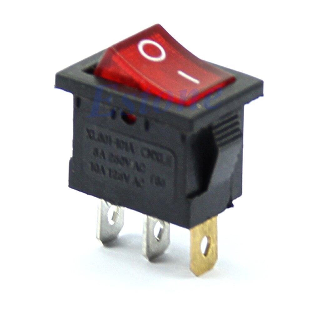 AC 6A/250 В 10A/125 В красный свет 3 Pin включения-выключения SPST оснастку в лодке кулисный переключатель