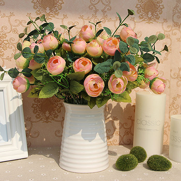 10 Heads Flowers Floral Bouquet Artificial Silk Champagne Flower Spring Rose Hydrangea Wedding Home Decor