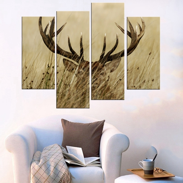 4 Panel Wall Art Deer Stag With Long Antler In The Bushes Painting ...