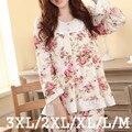 Más el Tamaño de Los Pijamas de Las Mujeres Feminino Pijama Pijamas Set de manga Larga M-3XL Primavera y Otoño Femenino Estampado floral ropa de Dormir