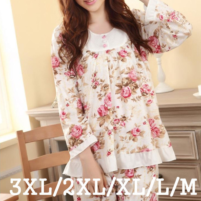 Plus Size Pyjamas Women Pijama Feminino Pajamas Set M-3XL Long sleeved Spring and Autumn Female Floral Print Sleepwear