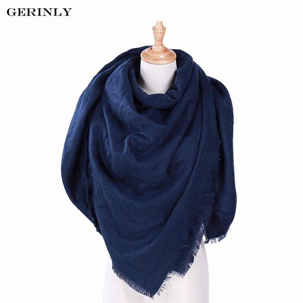 87fbd26aa Luxury Brand Winter Triangle Scarf Women Designer Solid Color Cashmere  Scarves and Shawls Blanket Foulard Hijab