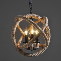 Ecolight Free Shipping Vintage Chandeliers Light Retro 3 Lamp E14 E12 Hemp Rope Chandelier Retro Country Style Vintage Style