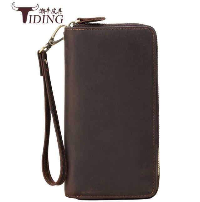 Hommes crazy horse cuir portefeuilles 2018 hommes marron en cuir véritable carte de visite chéquier carte de crédit portefeuille jours embrayages sacs