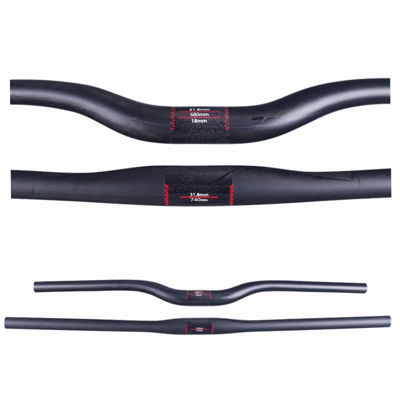 Matte Full UD Carbon Fiber Mountain Bicycle Straight Flat/Bend Riser Handlebar Bike MTB Part 31.8*580 - 760 mm