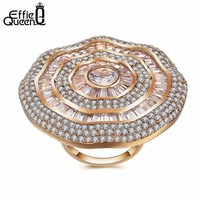 Effie Queen Luxury Big Natural Stone Ring Vintage Crystal Antique Rings For Women Gold Color Party Christmas Gift Hot DDR04