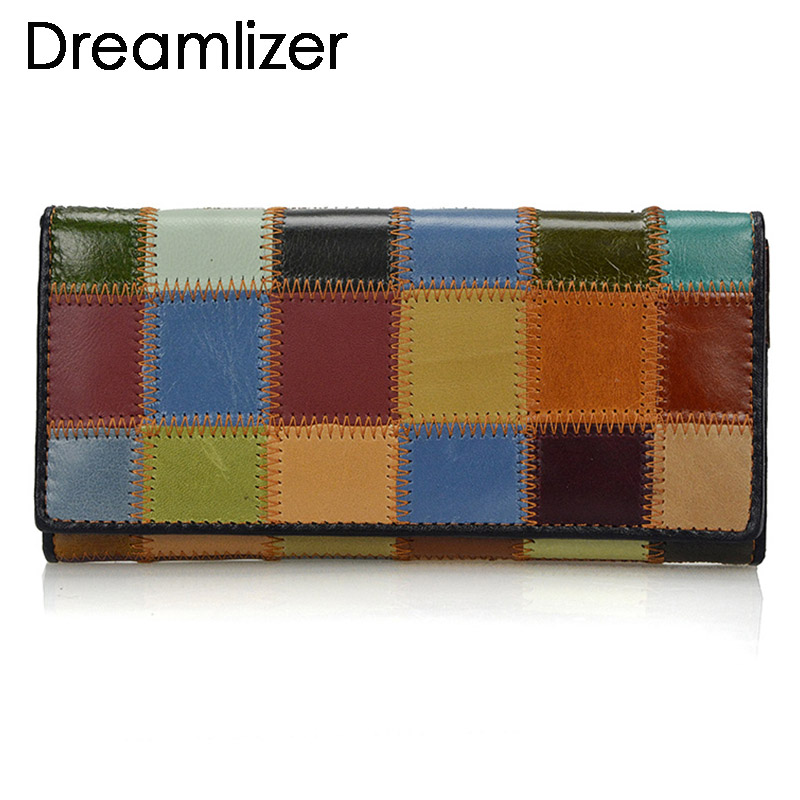 Dreamlizer 2018 New Fashion Patchwork Women Wallets Long Genuine Leather Purse Female Colorful Female Day Clutch Zipper Bags