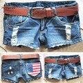 2017 Nova Moda Fresco Lavagem Denim Angustiado Bandeira Americana das Mulheres Cintura Baixa Jeans Calças Curtas Hot Pant 51