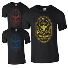 T Shirt Personality Fashion Shirts Short Sleeve Mens Team Valor Instinct Mystic Est 2016 Retro Label Top
