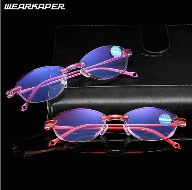 469280645ad WEARKAPER anti-blue rays reading glasses rimless Diamond Cutting farsighted Spectacles  Reader Eyeglass Eyewear Presbyopic