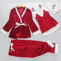 New Womens 3PC Strap Top Pants Suit Autumn Winter Velour Pajamas Sleepwear Sets Home Wear Nightwear Sexy Robe Bath Gown