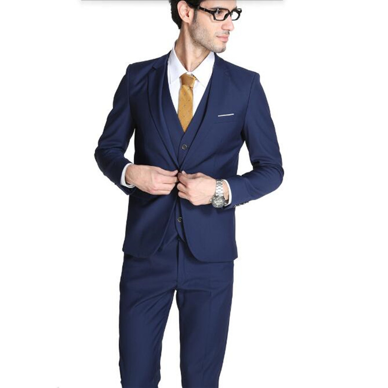 ₪Blue men suits tuxedos new style groom wedding suits tuxedos tailor ...