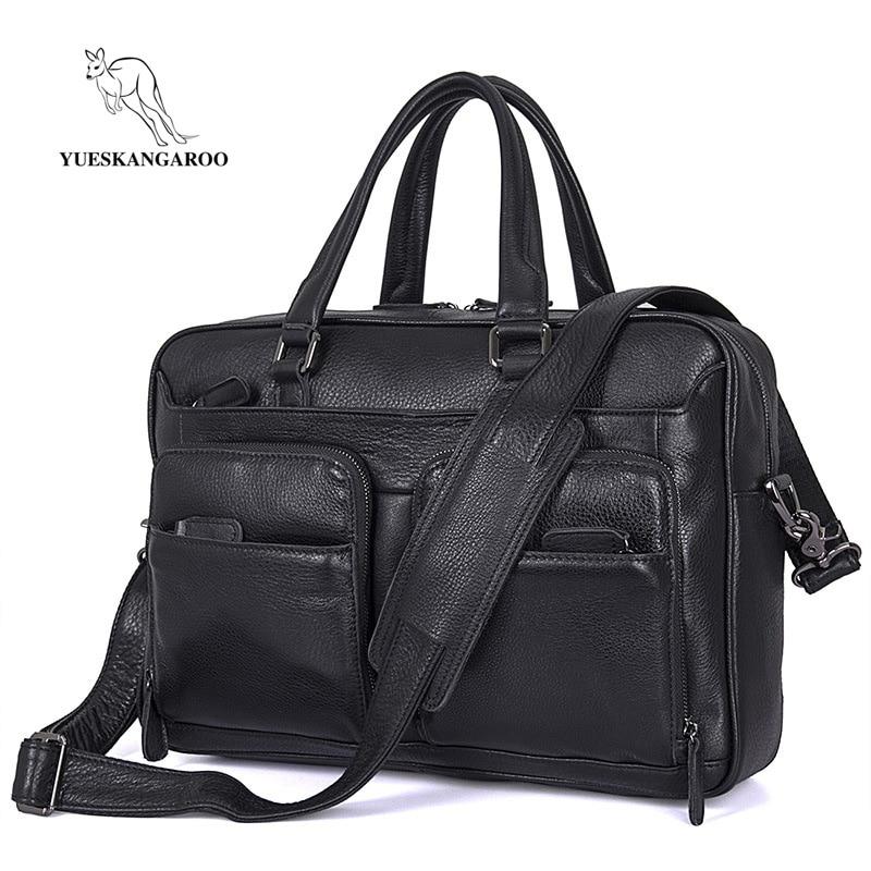"""YUESKANGAROO Large Capacity Genuine Leather Men's Tote Bag Men Crossbody bags 15"""" laptops Messenger bag Black leisure Handbag"""